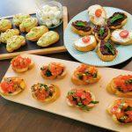 Bruschete fresh cu rosii, usturoi si ciuperci champignon